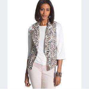 Chico's Shimmery Leopard Print Vest 1/M/8